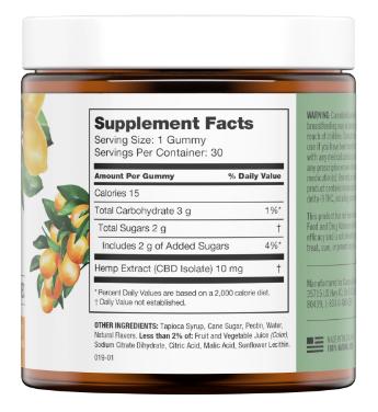 Martha Stewart CBD Citrus Mdley Gummies Ingredients Label